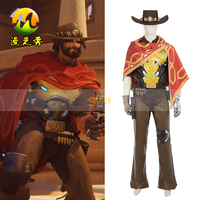 Newest OW Game McCree Jesse Cosplay Costume Superhero Halloween party for Adult Men Suit Unisex for include hat Customized Size