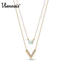 Viennois New Long Necklaces Pendants With Crystals from Swarovski Gold Plated V-shaped Double Layers Simulated Pearls Necklace