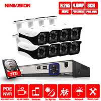 NINIVISION H.265 8CH 5MP POE NVR System With 8pcs 4MP Onvif POE IP security CCTV Camera with HD cctv surveillance camera kit