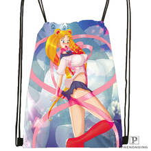 Custom Sailor Moon and the Scouts Drawstring Backpack Bag Cute Daypack Kids Satchel (Black Back) 31x40cm#180531-03-19