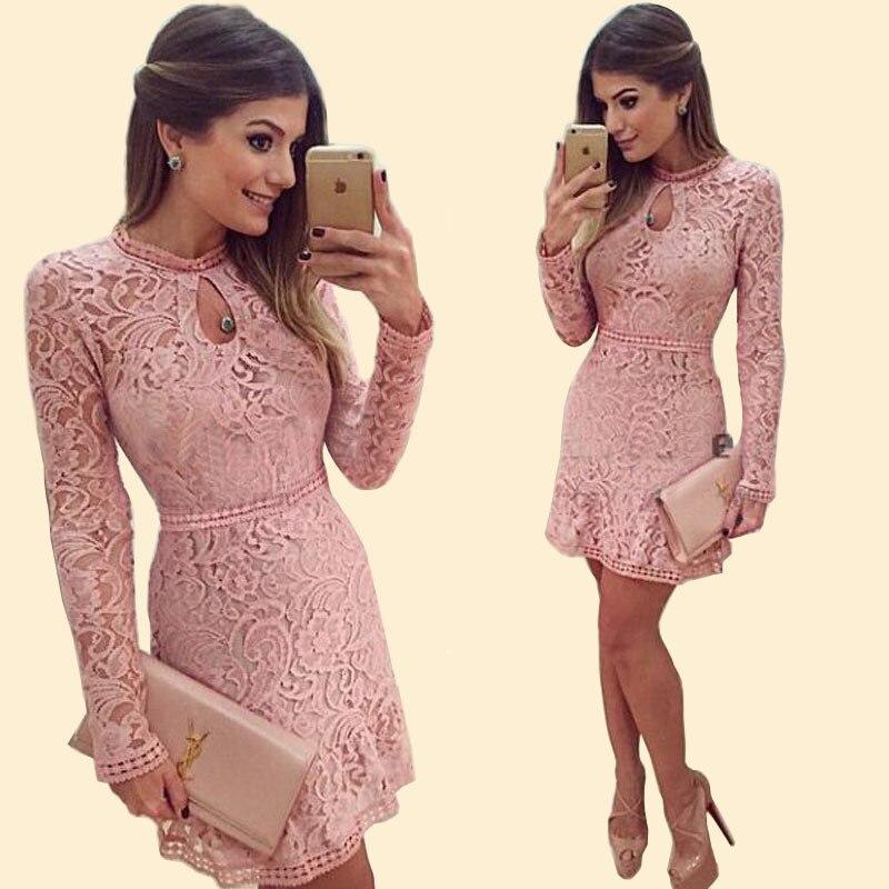 2017 de Encaje de Color Rosa de Primavera y Verano Vestido de ...