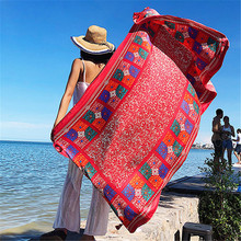 LEAYH Summer Oversize 180*90cm Scarf Women Fashion Wraps Ethnic Style Travel Holiday Seaside Sunscreen Beach Towels Large Shawl