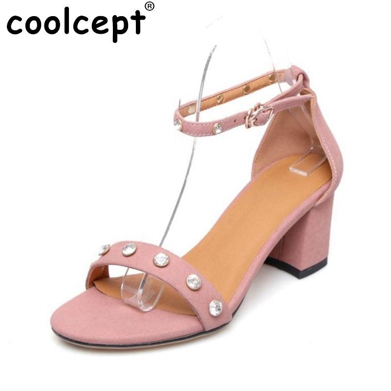 Coolcept Summer Women Real Leather High Heel Sandals Open Toe Crystal Ankle Strap Sandals Office Fashion Shoes Women Size 34-39 plus size 34 43 new summer shoes woman open toe women ankle strap wedges sandals casual low heel sandals women sandals
