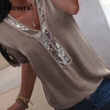 2861a41e17 VIEUNSTA kobiety S-5XL cekiny dekolt w serek szyfonowa bluzka 2019 lato z  krótkim rękawem