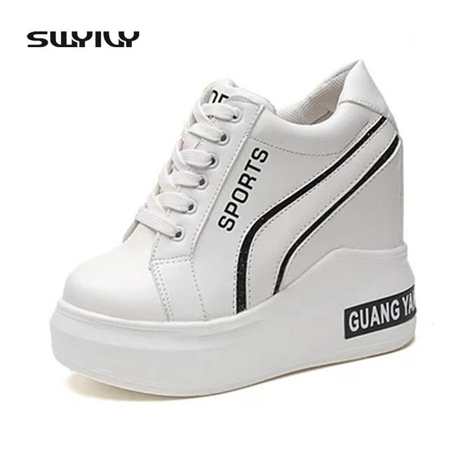 8c26d343d Vulcanizar SWYIVY das Mulheres Da Sapatilha Da Cunha Plataforma Mulheres  Brancas Sapatos Casuais Mulher Tênis Plataforma