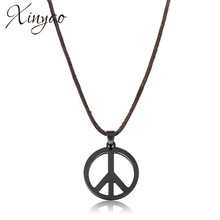 Buy hippie necklace and get free shipping on aliexpress xinyao 2017 black stainless steel titanio peace necklaces pendants for men hippie punk long leather mozeypictures Image collections