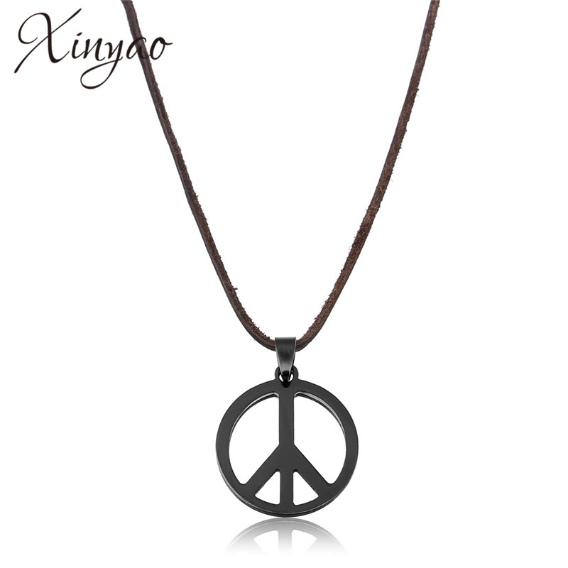XINYAO 2019 Black Stainless Steel Titanio Peace Necklaces & Pendants For Men Hippie Punk Long Leather Necklace Male Jewelry