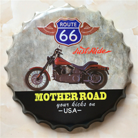MOTEHR ROAD Large Beer Cover Tin Sign Logo Plaque Vintage Metal Painting Wall Sticker Iron Sign Bar KTV Store Decorative 40 CM