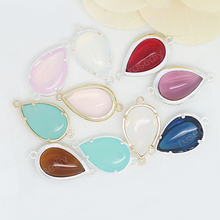 4PCS 13.5x25MM 24K Champagne Gold Color or Silver Brass with Colourful Glass Beads Tear Drop Shape 2 holes Connect Charms