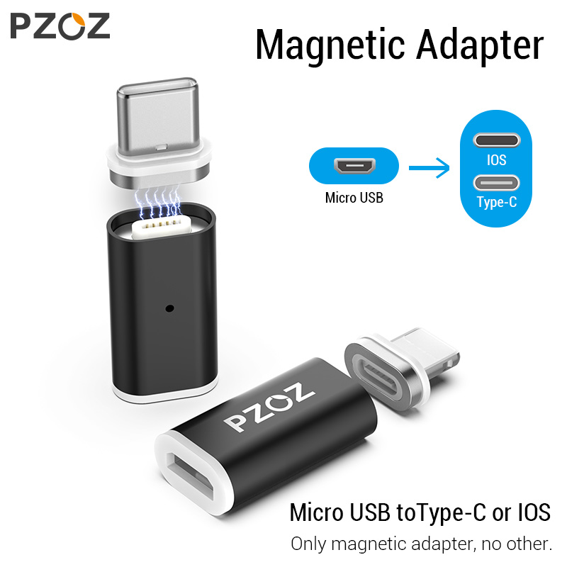PZOZ Magnetic Adapter Micro Usb Adapter Fast Charging Phone Microusb Type-C Magnet Charger Usb C For Apple Iphone Type C Adapter