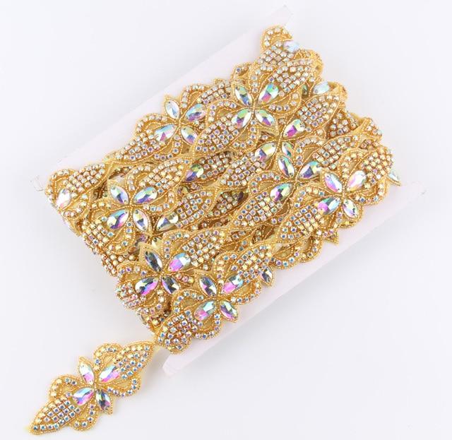 1Yard Fashion Gold Base Rhinestone Applique Patch Trim Hot-Fix Crystal  Beaded Applique Trimming For Bridal Dress Shoes e4d18b9b7812