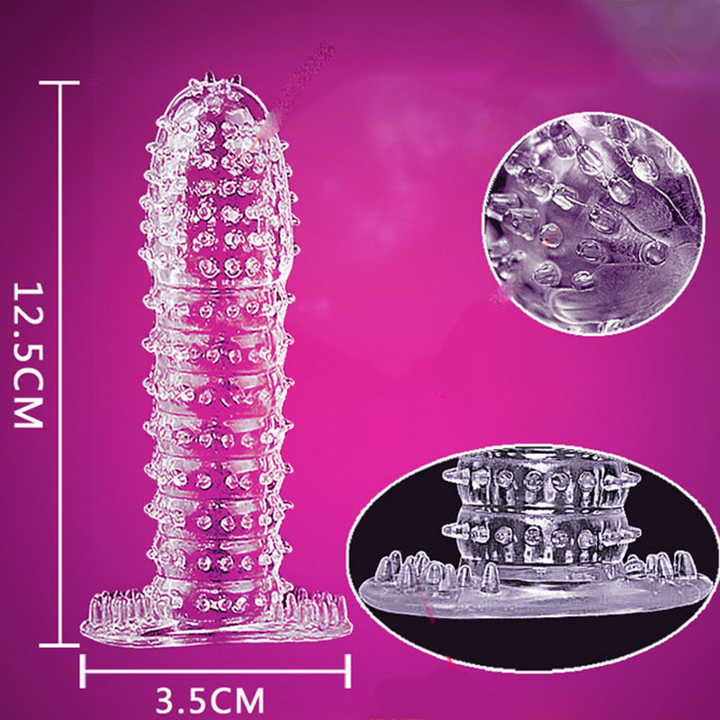 5 Types Silicone Reusable Condoms Time Delay Crystal Penis Rings Male Penis Extension Sleeves Cock Rings Adult Sex Toys For Men