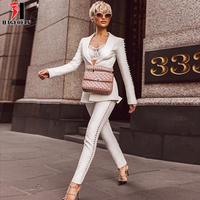 HAGEOFLY 2017 Autumn New Women 2 Piece Sets White Fashion Button Deep V Long Sleeve Tops