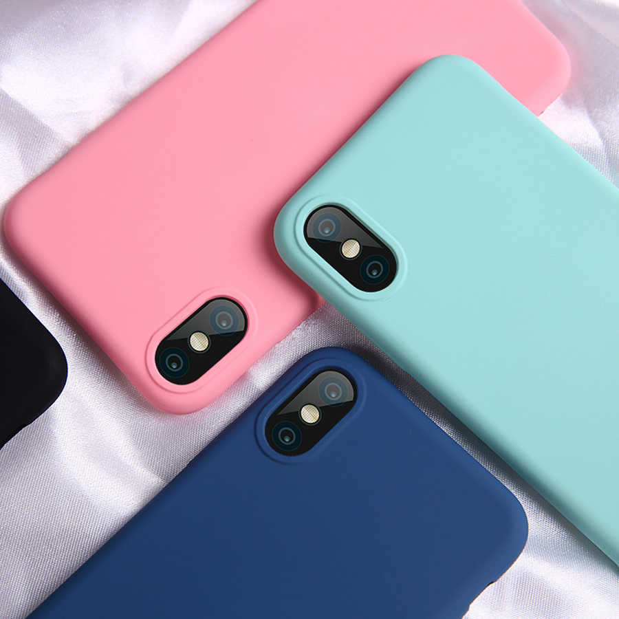 High Quality Case For iphone 7 6 6S 8 Plus 5 5S SE X XR XS Max Soft Silicone Cover Pink Sky blue Candy Colors Phone Cases