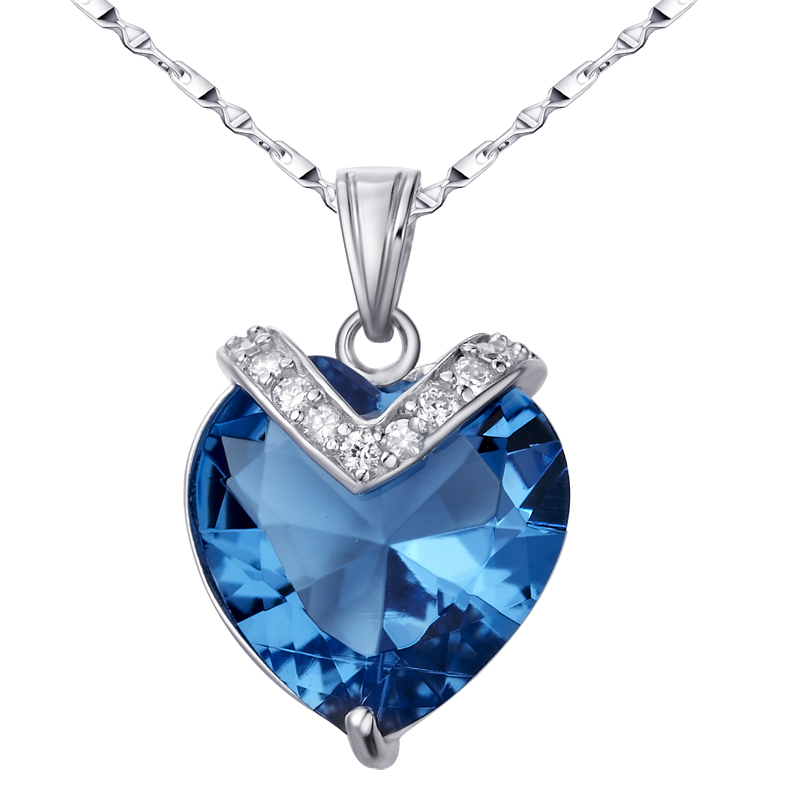Artificial blue crystal necklace love Heart of the ocean Pendant women's Jewelry 925 sterling silver gift luxury SYP0010B