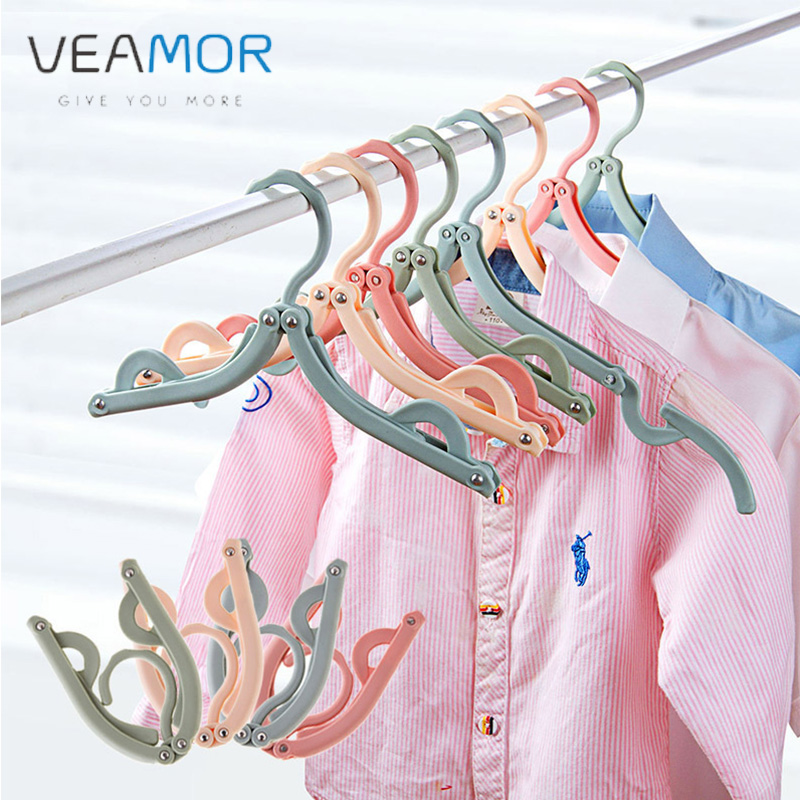 VEAMOR 3pcs/Set eco-friendly Foldable Clothes Hangers Childrens Plastic Coat Drying Rack Fashion Hangers Hook for Travel