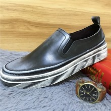 Personality Plain Men Loafers Graceful Mens Loafers Leather Soft Leather Dichotomanthes Bottom Hit Color Meeting Cow Split