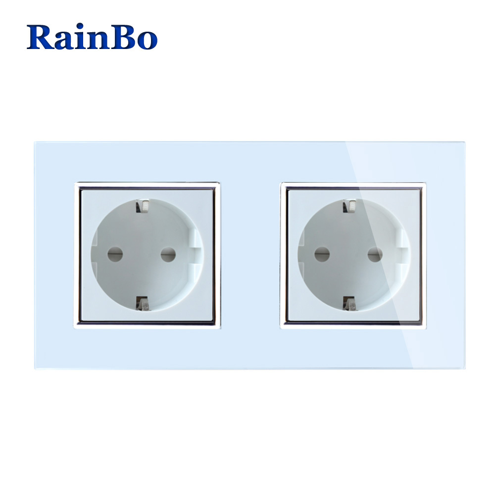 купить RainBo Wall EU Power Wall Socket Standard Power Socket White Glass Panel AC Wall Power smart outlet Free Shipping A28E8EW/B по цене 962.16 рублей