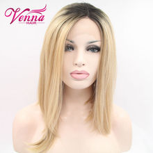 Ombre blonde Dark root turquoise teal Synthetic Lace Front Wig Glueless Ombre Tone Color Short Bob Hair Wigs Heat Resistant
