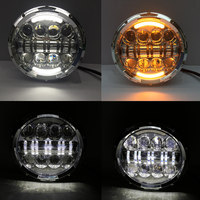 2 PCS 80W 7 Inch Round LED Headlight With White Amber Turn Signal DRL For Jeep
