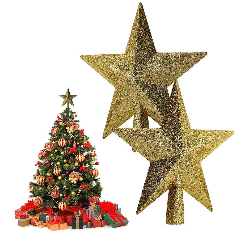 Gold star ornaments - Shiny Christmas Tree Topstar Red Gold 15cm 20cm Chrismas Decoative Star Tree Topper For Table Christmas Ornament Xmas Decoration
