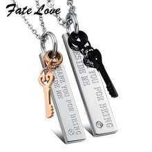 Fate Love New Fashion new arriave jewelry brand new jewelry lock lovers titanium steel necklace FL566(China)