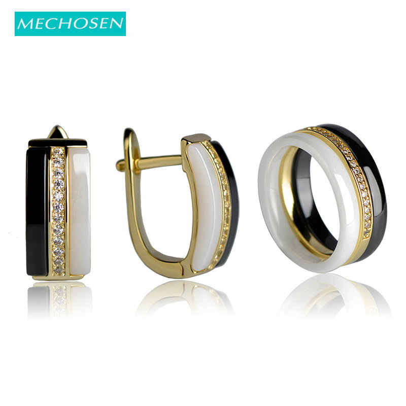 MECHOSEN Brillant Ceramic Jewelry Sets Rings&Earrings Zirconia Three Lines White/Black Keramik Anillos Brincos Porcelain Schmuck