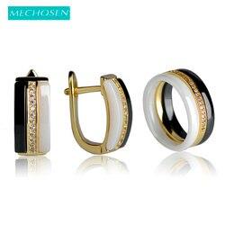 MECHOSEN Brillant Ceramic Jewelry Sets Rings&Earrings Zirconia Three Lines White/Black Keramik Anillos Brincos Porcelain Schmuck