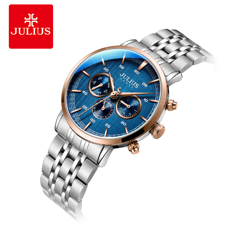 Julius watch Men's New Arrival 6 Hands Multi function Business Watch Blue Dial Stainless Steel Clock Luxury Gift Watch JAH 100