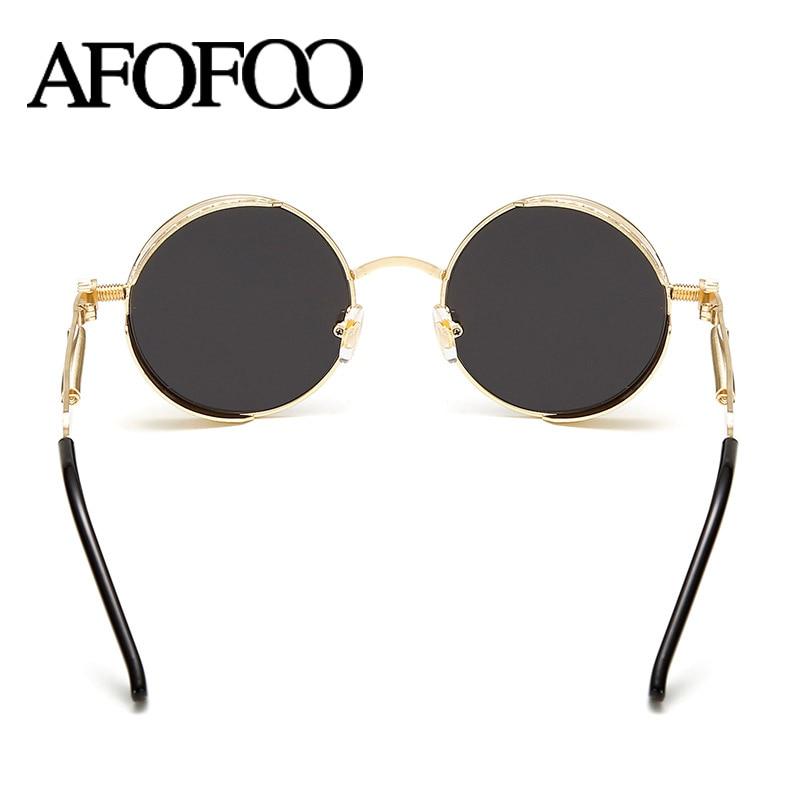 d4ccf3a44a ... AFOFOO Gothic Steampunk Men Sunglasses Women Coating Mirror Sunglasses  Round Sun glasses Retro Vintage Gafas Masculino ...