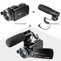 Full HD 1080P Digital Video Camera Wifi Camcorder with External Microphone 3.0 inch LCD Touch Screen Video Recorder