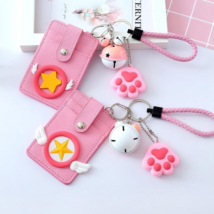 2020 Sharkbang Kawaii PU Leather Double Side Pink Heart Bell Rope Card Holder Bus Bank ID Card Keychain Protection Case