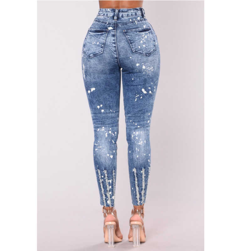 cf89ad73a6eb7 ... New 2018 Spring Summer Stretchy Blue Hole Ripped Jeans Woman Denim  Pants Trousers For Women Pencil ...