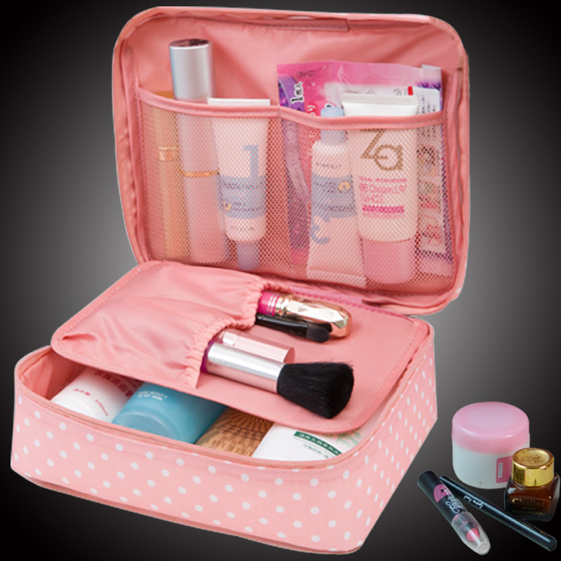 Makeup Brush Cosmetic Organizer Pencil Pouch Pen Case Portable 2 layer Small Makeup Pouch Holder PU Leather Case with Carry Handle for Travel (pink).
