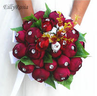 Dark Red Fake Artificial Bridal Bouquet Roses with Crystals Handmade Cheap Wedding Flowers for Bride Elegant Bridesmaid Bouquet