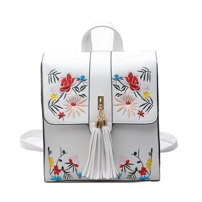 2018 New Cute Backpack For Teen Girl Back Pack Womens Designer Backpacks High quality PU Leather Embroidered flowers School bag