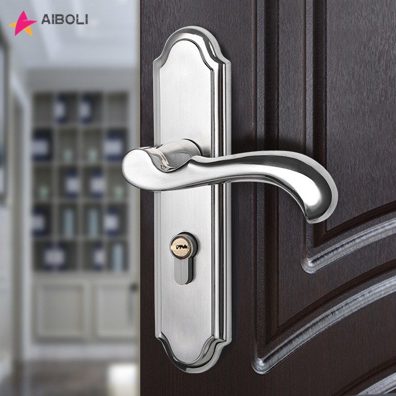 stainless steel Door Lock knobs and handles door lock mortice lock door handles for interior doors Mute anti-theft lock new quality practical steel lock body 304 stainless steel anti theft lock outer door lockset dead bolt locks