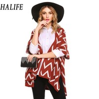 HALIFE Winter Women Cardigan Coat Half Sleeve Open Front Striped Knit Kimono Sweater Ponchos And Capes
