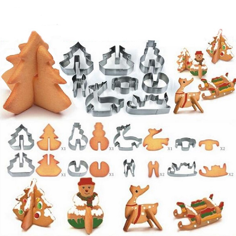 8Pcs/set Christmas Gingerbread House Biscuit Cutter Set Stainless Steel Cookie Mould