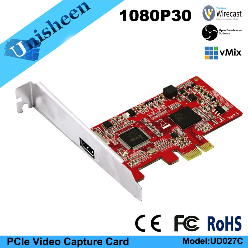 Tarjeta de captura de video HD PCIe 1080P30 Tarjeta de captura HDMI vmix wirecast obs