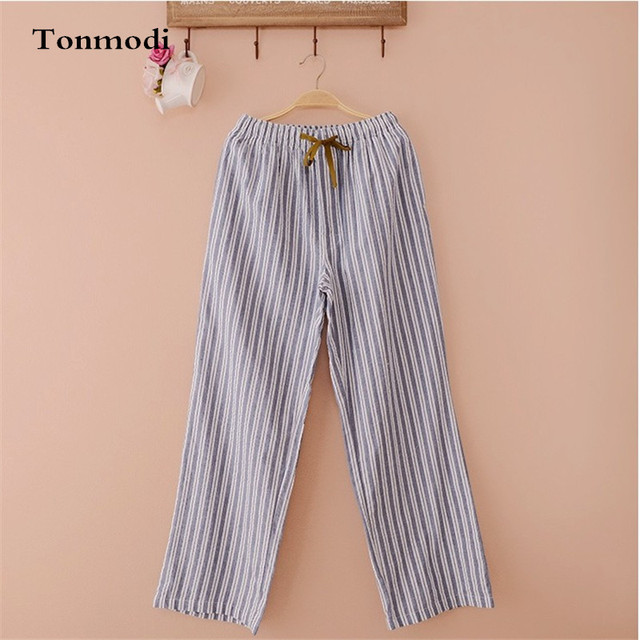 Men's Pajamas Pants autumn and spring Solid Cotton Sleep Bottoms trousers