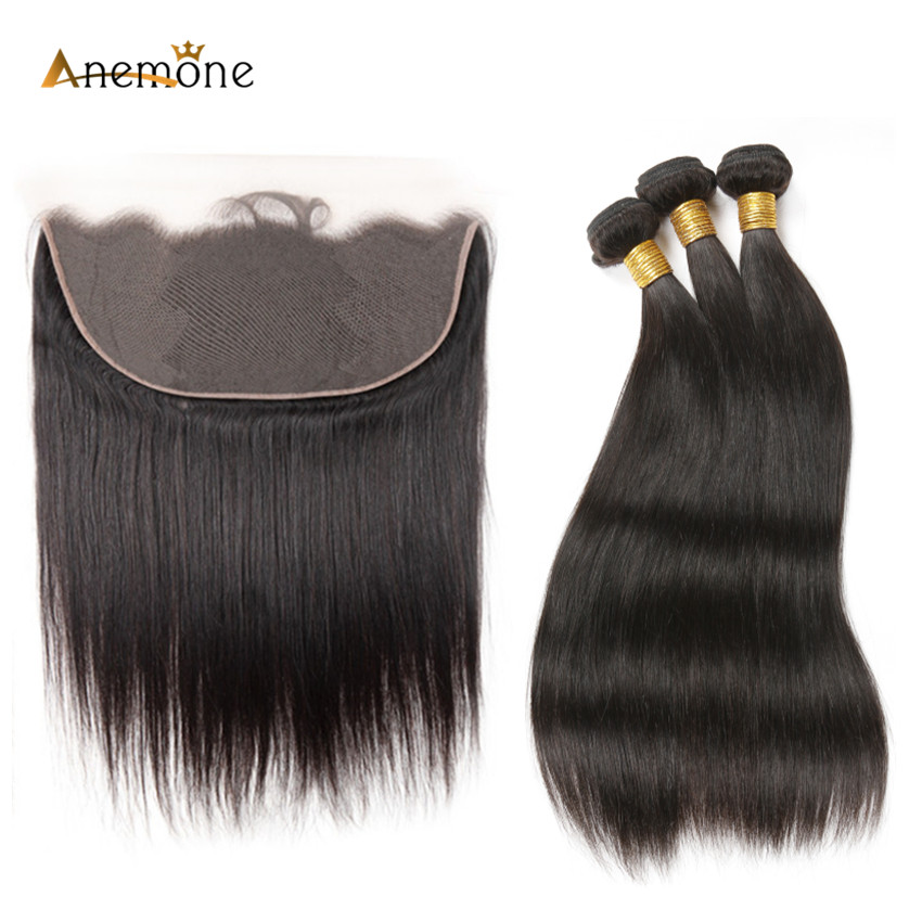 Anemone Straight Remy Hair Weaves 2 or 3 Pcs Brazilian Human Hair Bundles With 13x6 Lace Frontal Pre Plucked with Baby Hair