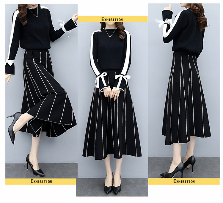 Plus Size Black Women Knitted Two Piece Sets Bow Tie Sweater And Long Skirt Suits Sets Winter Casual Elegant Vintage Ladies Sets 43