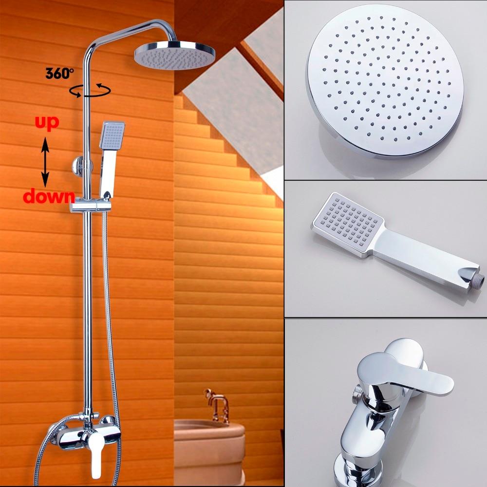 YANKSMART Fashion Polished Chrome Bathroom Shower Faucet Wall Mounted Bathroom Rain Shower Set Classic Shower Mixer Tap torayvino polished chrome water tap bathroom faucet wall mounted shower set