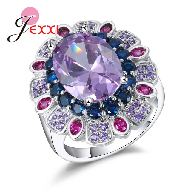 JEXXI Top Grade luxury Finger Ring With Purple Stone 925 Sterling Silver Ring Fo