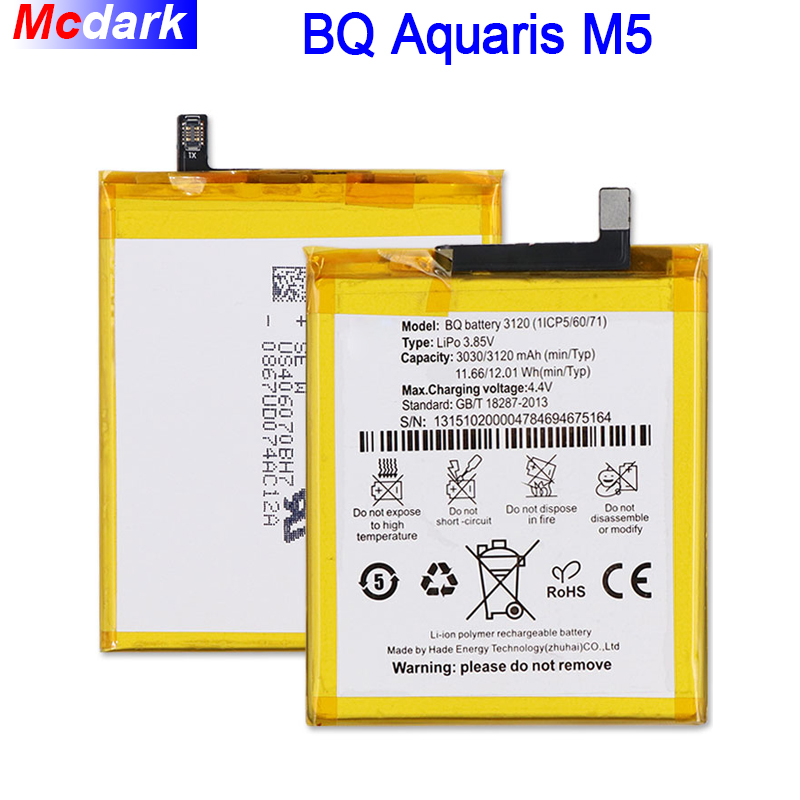 New 3120(1ICP5/60/71) M5 Battery For BQ Aquaris M5 Batterie Bateria Batterij 3120mAh
