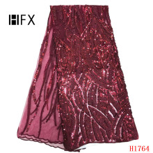 Beaded Lace Fabric Nigerian Wine Color 2019 High Quality With Sequins Fashion French For Party Dress F17