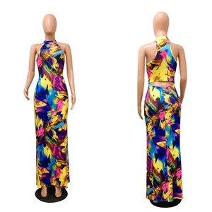 Image 5 - Zarif kadın Boho çiçek baskı Halter bahar ziyafet uzun elbise seksi Backless akşam parti elbiseler Casual vestidos