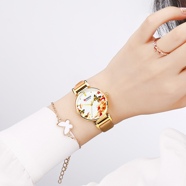 CURREN Leather Women Watch 2019 Summer New Quartz Ladies Wristwatch Relojes Female Clock Fashion Flower Dial Reloj Mujer
