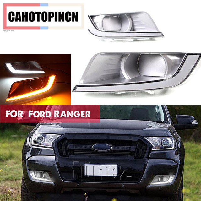 For Ford Ranger T6 Update 2017 2016 Turn Signal Relay 12v Led Drl Daytime Running Light Daylight Fog Lamp Cover Car Styling